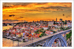 Porto, Portugal at sunset.