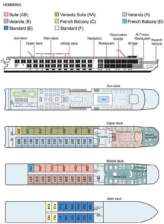 Viking River Cruises Universal Douro River Ship Deck Plan