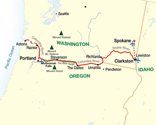 Snake River Washington Map.American Cruise Lines Columbia And Snake Rivers Itinerary Route Map