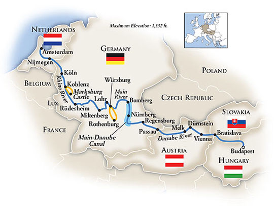 budapest to amsterdam river cruise map Tauck River Cruises Budapest To Amsterdam Itinerary Route Map budapest to amsterdam river cruise map