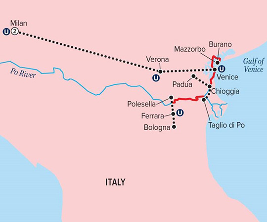 Uniworld River Cruises | Gems of Northern Italy Itinerary | Route Map