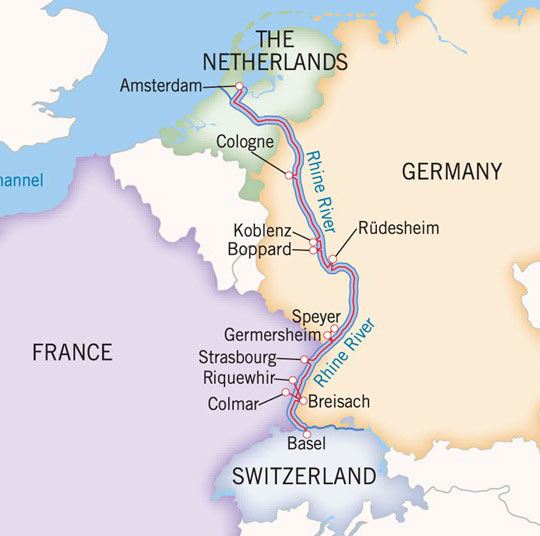 Uniworld River Cruises  Castles Along the Rhine Itinerary  Route Map