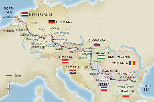 Viking River Cruises European Sojourn Itinerary Route Map