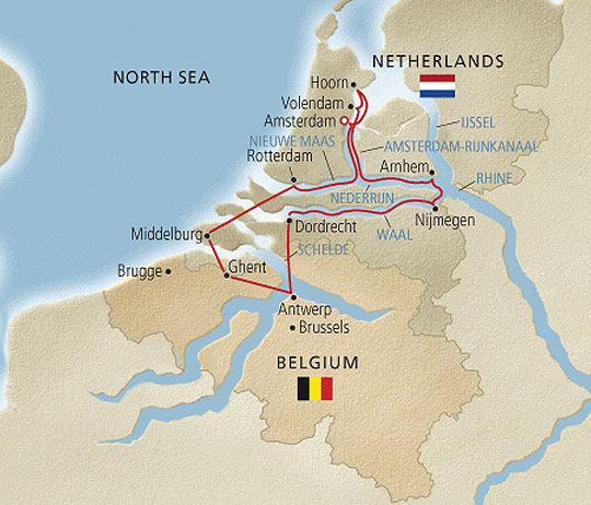 Viking River Cruises   Tulips and Windmills Itinerary   Route Map
